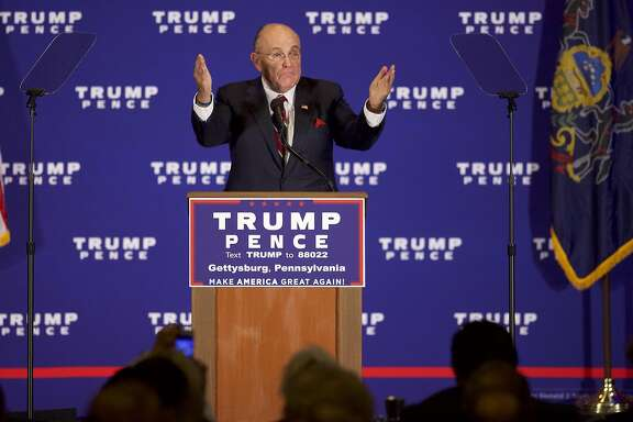 GETTYSBURG, PA - OCTOBER 22:  Former Mayor of New York City Rudy Giuliani introduces Republican Presidential nominee Donald J. Trump during an event at the Eisenhower Hotel and Conference Center October 22, 2016 in Gettysburg, Pennsylvania.  Trump delivered a policy speech announcing his plans for his first 100 days in office.  (Photo by Mark Makela/Getty Images)