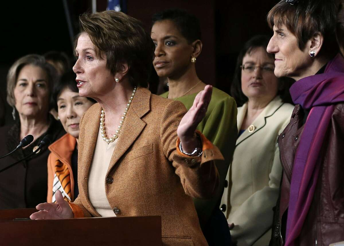 WASHINGTON, DC - FEBRUARY 28: Flanked by Democratic Women House members, including Rep. Jan Schakowsky (D-IL) (L), Rep. Doris Matsui (D-CA) (2nd L), Rep. Rosa DeLauro (D-CT) (R), U.S. House Minority Leader Rep. Nancy Pelosi (D-CA) (3rd L) speaks during a news conference February 28, 2013 on Capitol Hill in Washington, DC. Pelosi held a news conference to discuss the sequester. (Photo by Alex Wong/Getty Images)