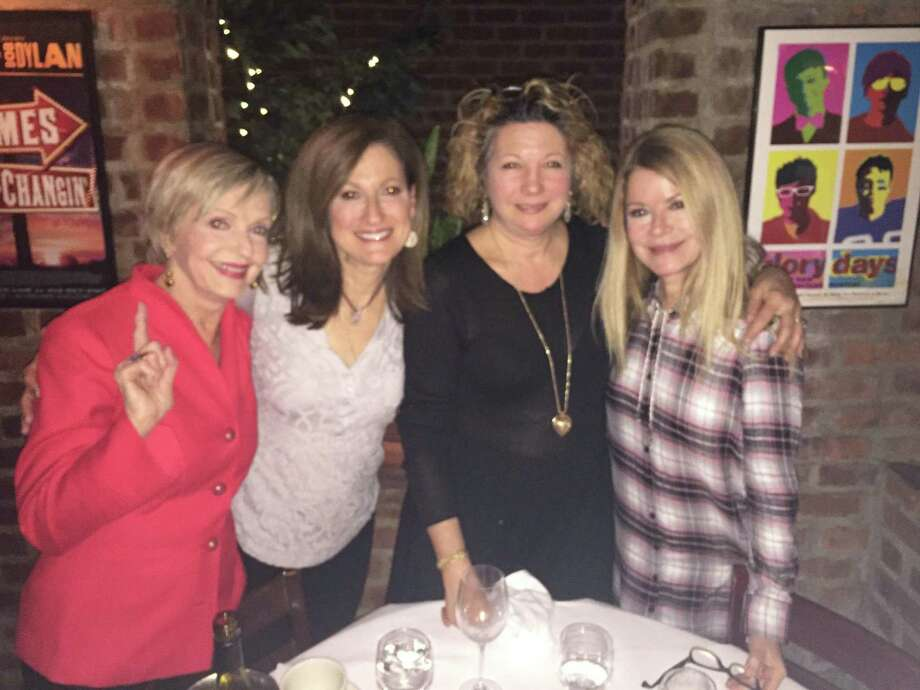 From left:  Florence Henderson, Andrea Marella, Cindy Schaffer, and Barbara Chase (Henderson's daughter preparing for DART's Gala benefit and concert at the Palace Theater on Friday night. Photo: Contributed