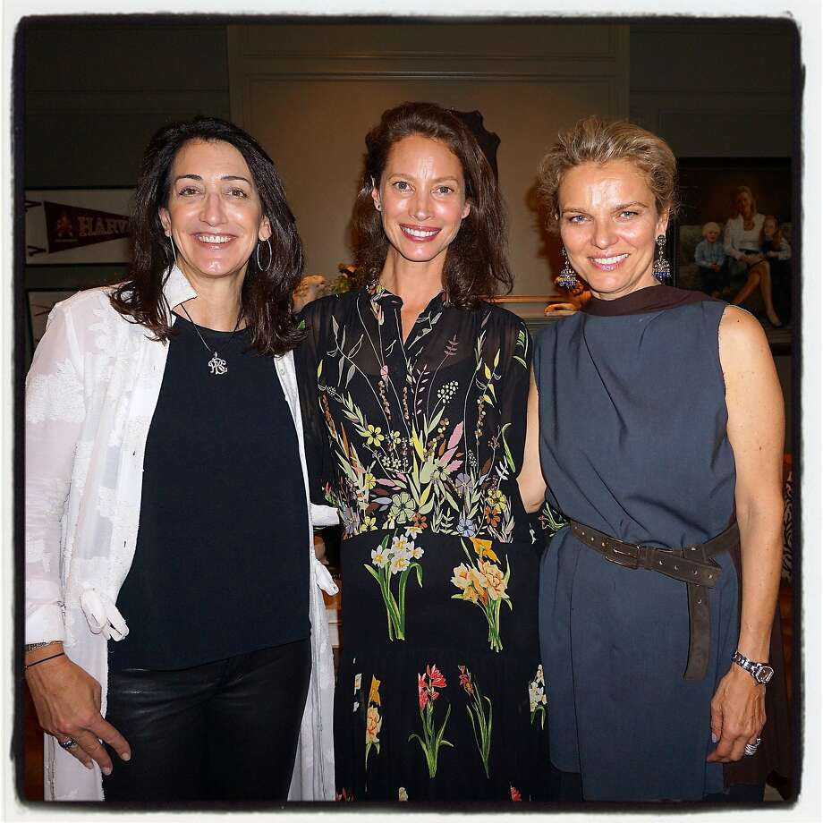Co-host Pamela Baer (left), Every Mother Counts founder Christy Turlington Burns and Leigh Matthes. Photo: Catherine Bigelow, Special To The Chronicle
