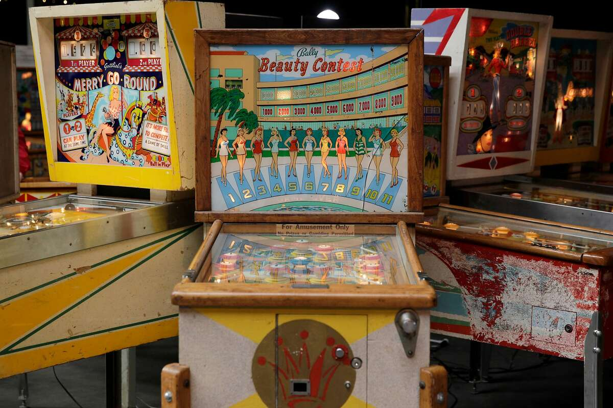 Retro pinball machines are seen at the Moon Pinball Expo at the Pacific Pinball Museum on Friday, Nov. 11, 2016 in Alameda, Calif.