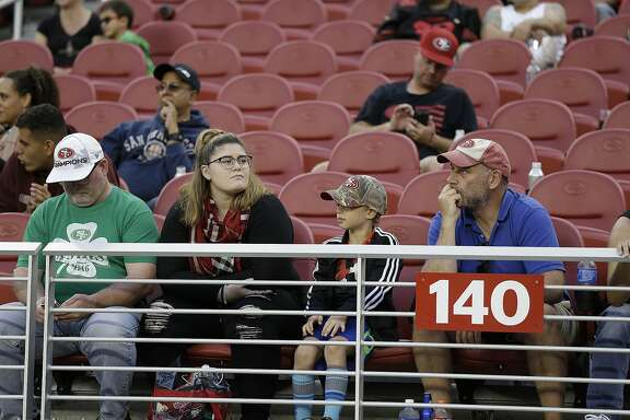 Spectators at Levi's Stadium watch the final minutes of an NFL football game between the San Francisco 49ers and the New Orleans Saints, Sunday, Nov. 6, 2016, in Santa Clara, Calif. New Orleans won the game. (AP Photo/D. Ross Cameron)
