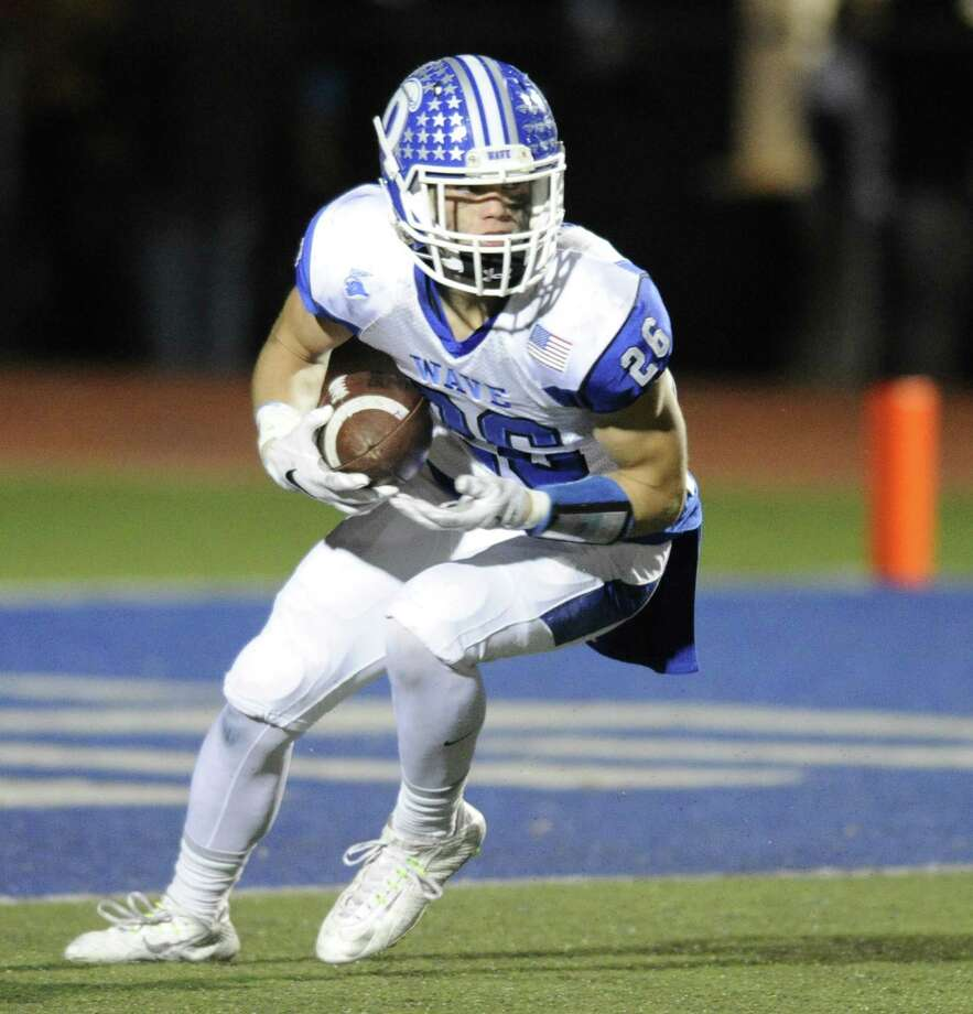 Darien Nicholas Green set up for a punt return against Staples in a varsity football game at Staples High School in Westport on Nov. 11, 2016. Photo: Matthew Brown / Hearst Connecticut Media / Stamford Advocate