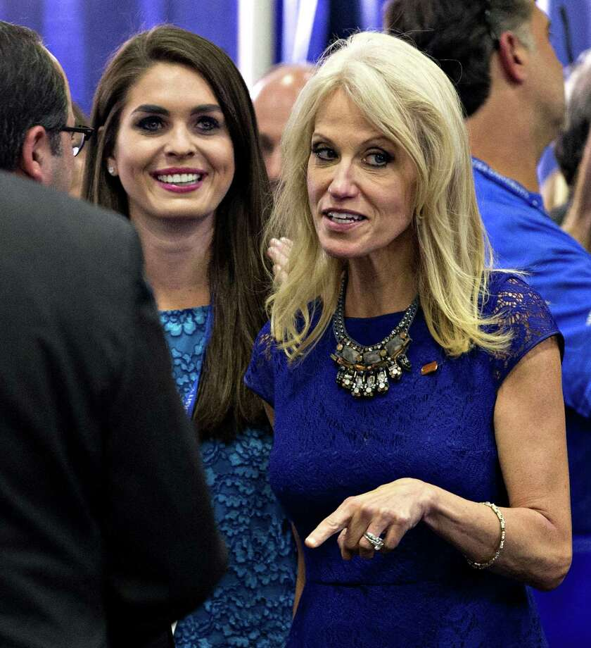 Hope Hicks, left, campaign press secretary and Kellyanne Conway, campaign manager for 2016 Republican Presidential Nominee Donald Trump at the first U.S. presidential debate. Hicks, a Greenwich native, could now land a job in Trump's White House. Photo: Daniel Acker / Bloomberg / © 2016 Bloomberg Finance LP via Associated Press