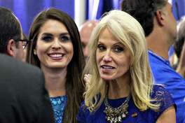 Hope Hicks, left, campaign press secretary and Kellyanne Conway, campaign manager for 2016 Republican Presidential Nominee Donald Trump at the first U.S. presidential debate. Hicks, a Greenwich native, could now land a job in Trump's White House.