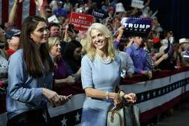 Press secretary Hope Hicks and Kellyanne Conway, campaign manager for Republican presidential candidate Donald Trump, right, and watch during a campaign rally, Friday, Oct. 14, 2016, in Charlotte, N.C.  Hicks, a Greenwich native, could now land a job in Trump's White House.