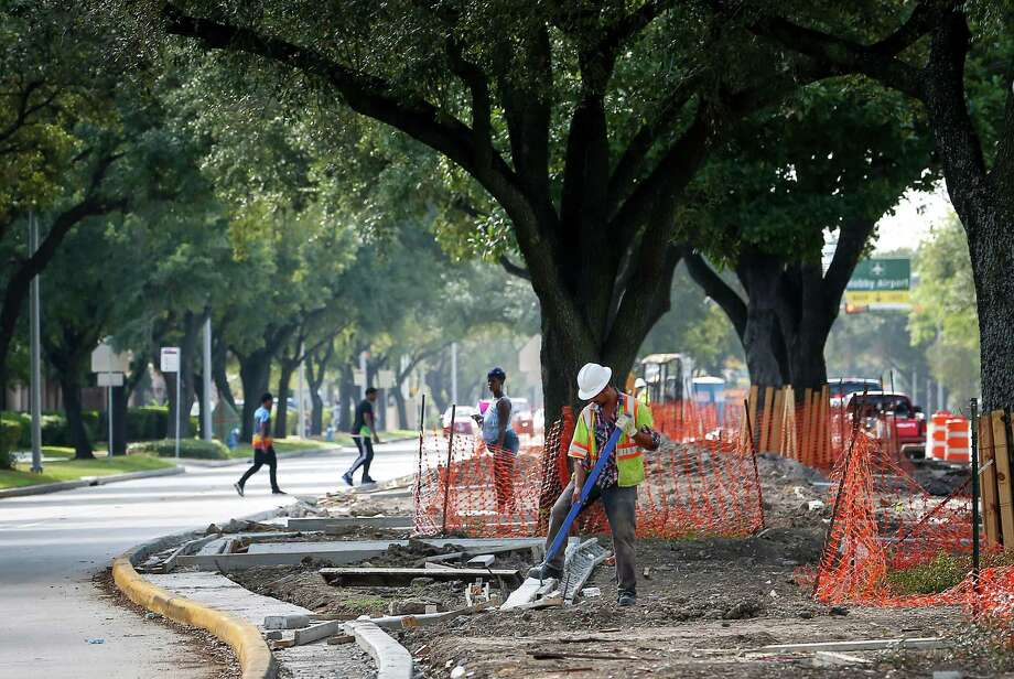 Ongoing beautification efforts on Broadway Street are aimed at the stretch of road between Interstate 45 and Hobby Airport. Thousands of visitors will use Broadway to travel to downtown hotels and other spots. Photo: Jon Shapley, Staff / © 2015  Houston Chronicle