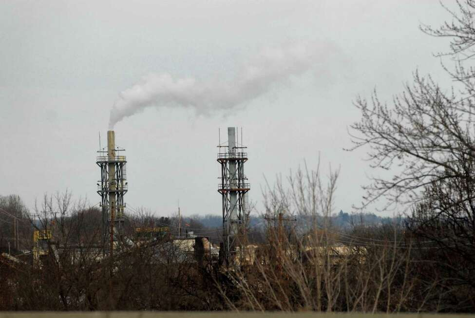 A view of the emission stacks at the Norlite plant on Monday, Jan. 11, 2010, in Cohoes, N.Y. (Paul Buckowski / Times Union archive)