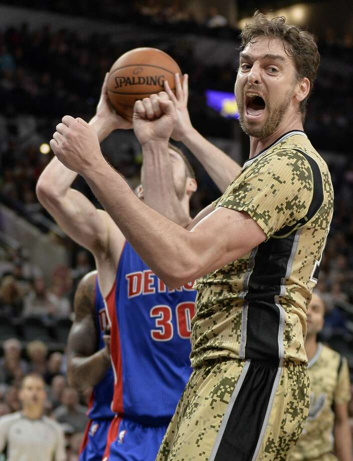 San Antonio Spurs center Pau Gasol, of Spain, yells at a referee during the second half of an NBA basketball game against the Detroit Pistons, Friday, Nov. 11, 2016, in San Antonio. San Antonio won 96-86. (AP Photo/Darren Abate) Photo: Darren Abate/Associated Press