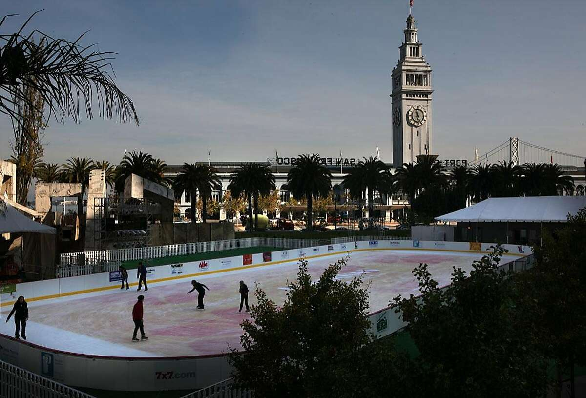 The Holiday Ice Rink at Embarcadero Center presented by Hawaiian Airlines opened today, November 9, 2011, and will be open for the next nine weeks in San Francisco, Calif.