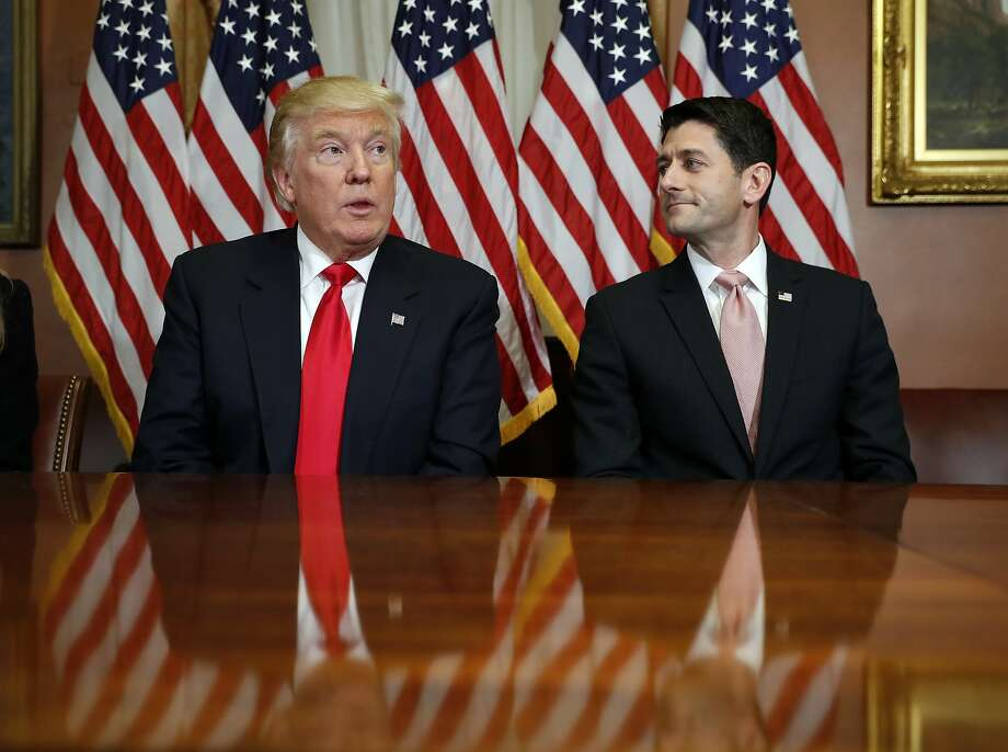 In this Nov. 10, 2016, photo, President-elect Donald Trump and House Speaker Paul Ryan of Wis., pose for photographers after a meeting in the Speaker's office on Capitol Hill in Washington. Washington�s new power trio consists of a bombastic billionaire, a telegenic policy wonk, and a taciturn political tactician. How well they can get along will help determine what gets done over the next four years, and whether the new president�s agenda founders or succeeds. (AP Photo/Alex Brandon) Photo: Alex Brandon, Associated Press