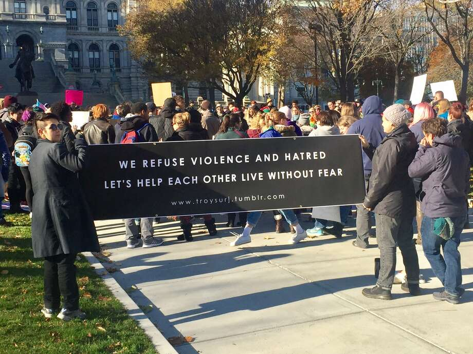 Demonstrators gather at the New York state Capitol on Saturday, Nov. 12, 2016 to protest the election of Donald Trump. (Robert Downen/Times Union)