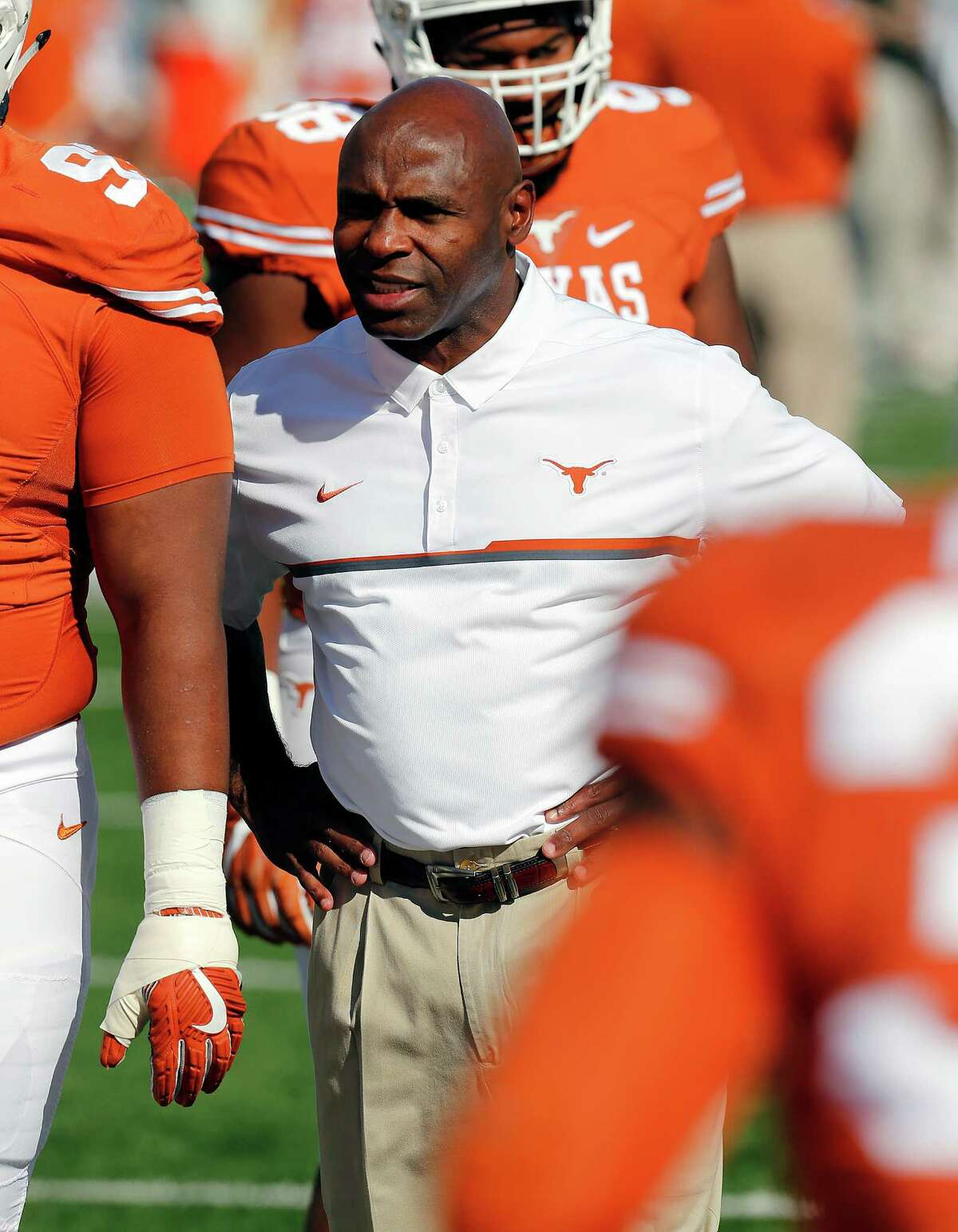 AUSTIN, TX - NOVEMBER 12: Head coach Charlie Strong of the Texas Longhorns watches his team before the game with the West Virginia Mountaineers at Darrell K Royal -Texas Memorial Stadium on November 12, 2016 in Austin, Texas.