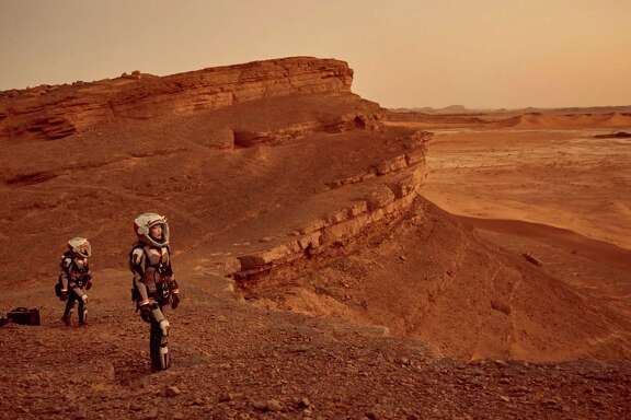 """This image released by National Geographic shows a scene from the series, """"Mars,"""" premiering Monday at 9 p.m. ET on the National Geographic channel. The series brought together scientific consultants, director Everardo Gout, producer Justin Wilkes as showrunner, and executive producers Ron Howard and Brian Grazer. (Robert Viglasky/National Geographic Channels via AP)"""