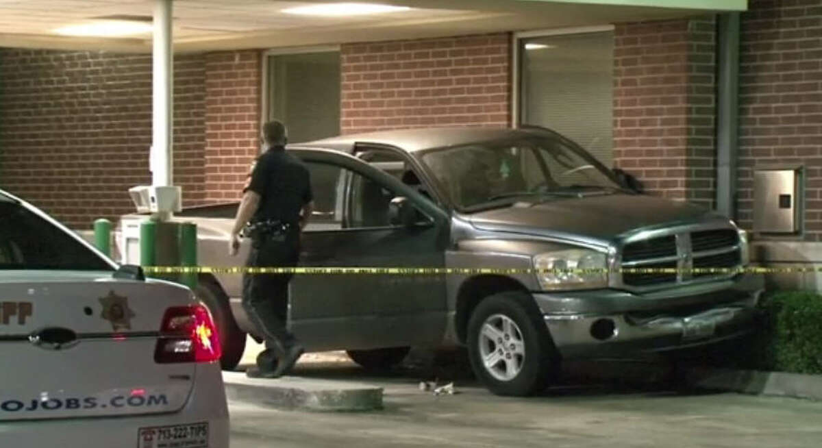 A bizarre accident at an ATM caused a man to be pinned between the wall and his truck Friday night in northwest Harris County. Officials say the man died at the scene.