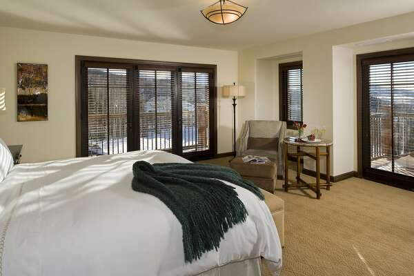 Beds in guest rooms at the Madeline Hotel and Residences, part of the Mountain Village resort near Telluride, Colo., feature Pratesi linens, feather duvets and comforters, and Euroflex pillow-top custom matresses.