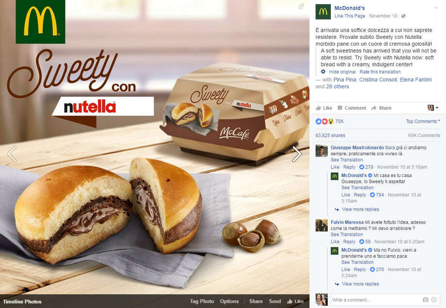 """McDonald's introduced a new """"burger"""" called the """"Sweety con Nutella,"""" but it will only be sold in Italy. >>KEEP CLICKING TO SEE OTHER STRANGE THINGS FAST FOOD PLACES HAVE DEBUTED OVER THE YEARS.Photo: McDonald's Facebook Screen Shot"""