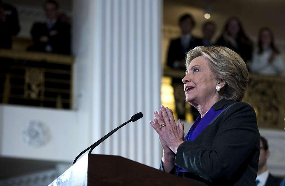 Hillary Clinton speaks in New York, Nov. 9, 2016. Clinton on Saturday cast blame for her surprise presidential election loss last week on the announcement by the FBI director, James Comey, days before the election that he had revived the inquiry into her use of a private email server.  Photo: DOUG MILLS, NYT