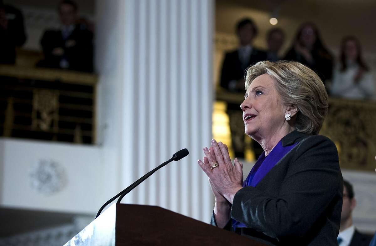 Hillary Clinton speaks in New York, Nov. 9, 2016. Clinton on Saturday cast blame for her surprise presidential election loss last week on the announcement by the FBI director, James Comey, days before the election that he had revived the inquiry into her use of a private email server.