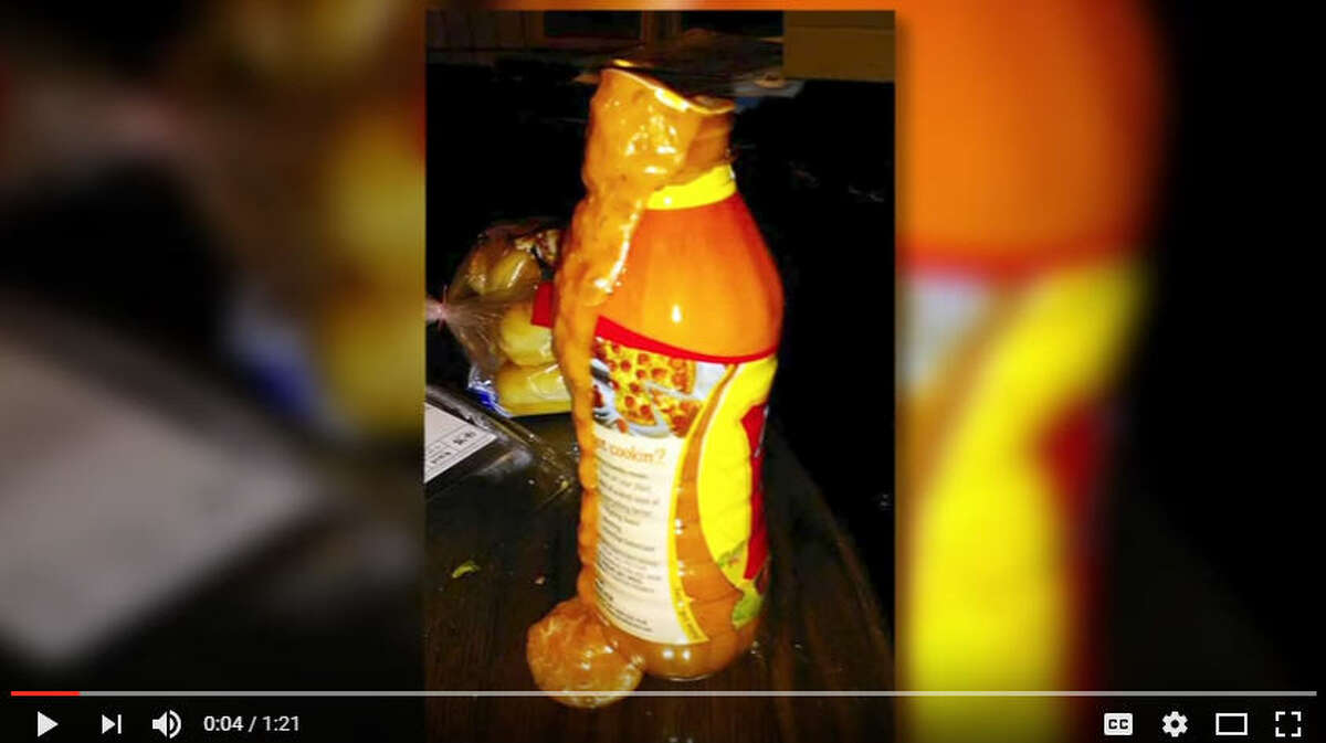 A woman in Wyoming was making a salad when her salad dressing exploded causing over $2000 worth of damage. Photo: YouTube Screen Shot