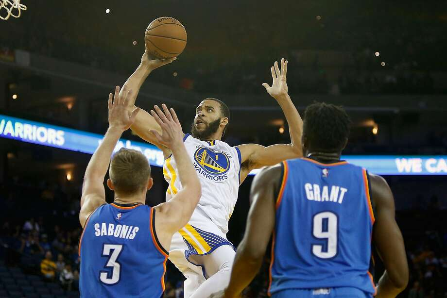 OAKLAND, CA - NOVEMBER 03: JaVale McGee #1 of the Golden State Warriors goes to the basket against Domantas Sabonis #3 and Jerami Grant #9 of Oklahoma City Thunder  at ORACLE Arena on November 3, 2016 in Oakland, California. NOTE TO USER: User expressly acknowledges and agrees that, by downloading and or using this photograph, user is consenting to the terms and conditions of Getty Images License Agreement. (Photo by Lachlan Cunningham/Getty Images) Photo: Lachlan Cunningham, Getty Images