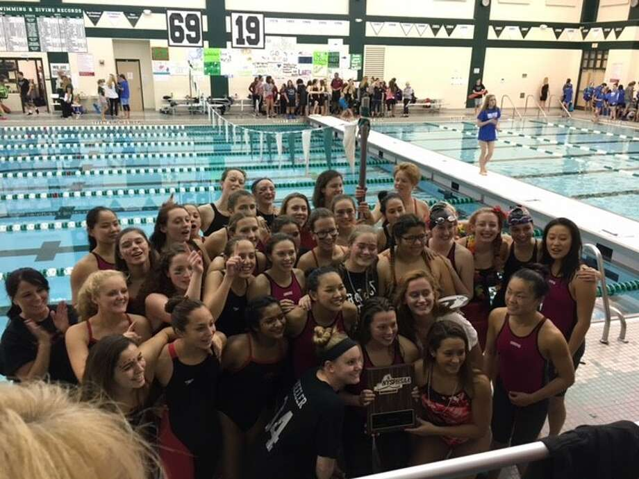 Members of the Niskayuna girls' swimming team celebrate after winning the Section II championship. (Photo courtesy Colleen Goodspeed)
