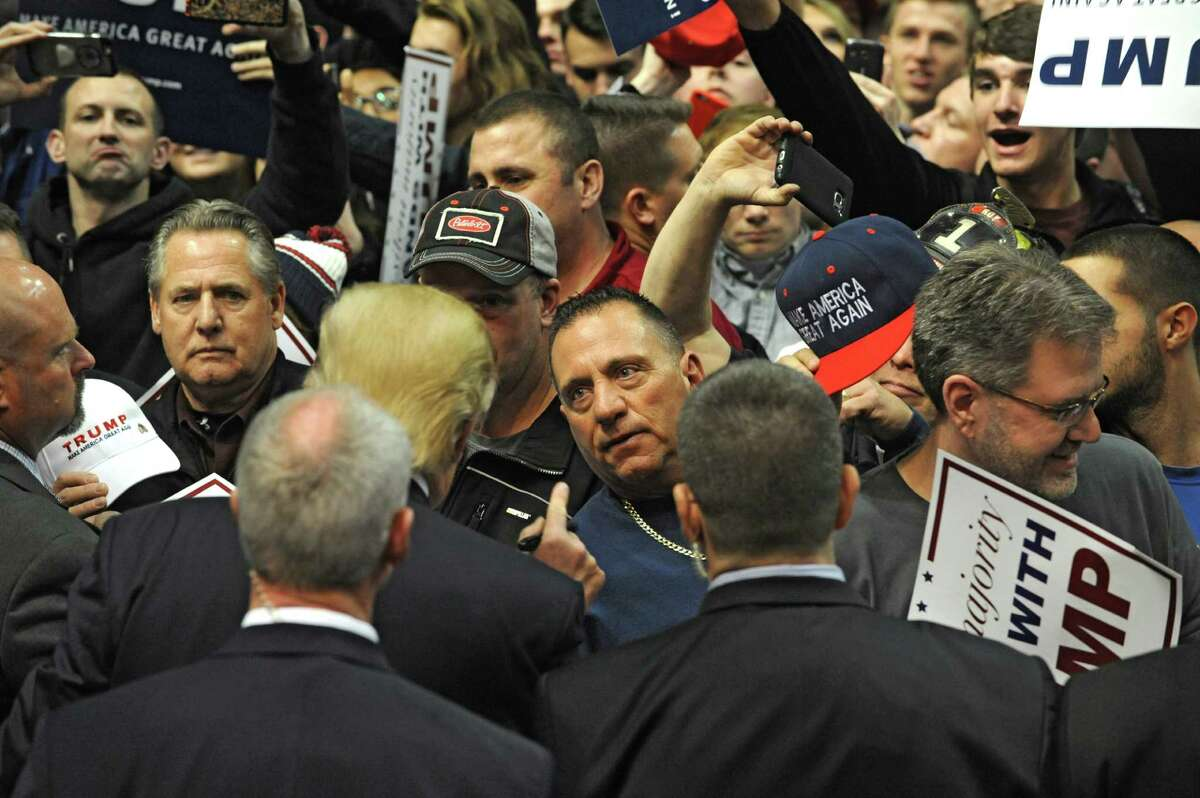 Republican presidential candidate Donald Trump interacts with the crowd at the end of a rally at the Times Union Center on Monday, April 11, 2016 in Albany, N.Y. (Lori Van Buren / Times Union archive)