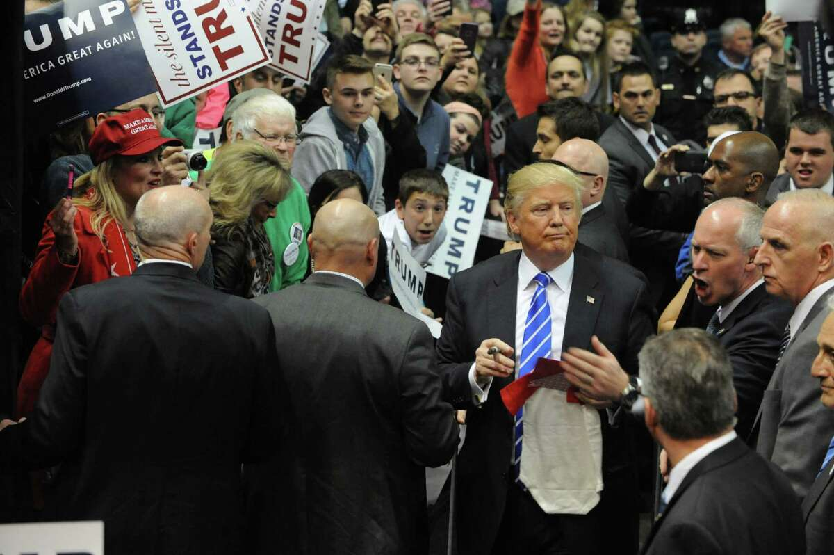 Republican presidential candidate Donald Trump interacts with the crowd at the end of a rally at the Times Union Center on Monday, April 11, 2016, in Albany, N.Y. (Lori Van Buren / Times Union archive)