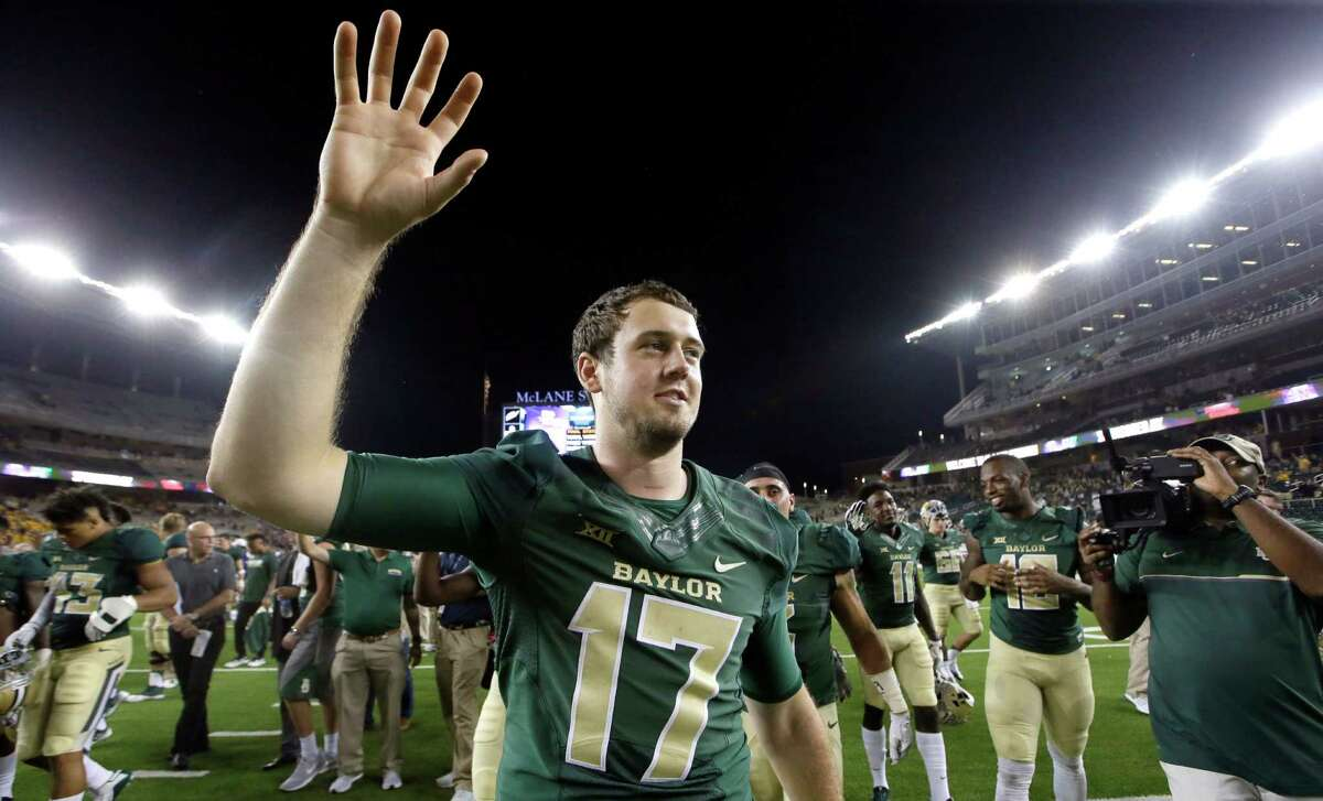 Baylor quarterback Seth Russell (17) raised his hand during his school's scone after an NCAA college football game against Northwestern State, Friday, Sept. 2, 2016, in Waco, Texas. (AP Photo/LM Otero)