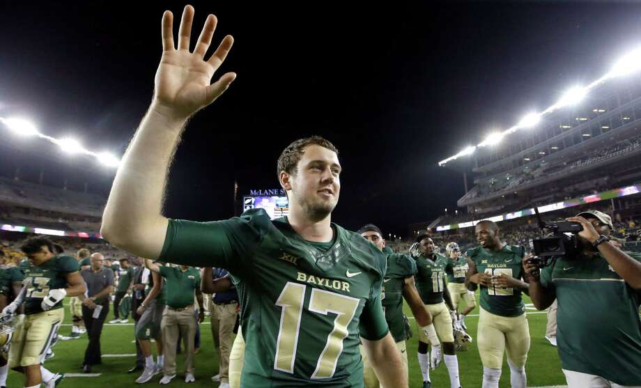 Baylor quarterback Seth Russell (17) raised his hand during his school's scone after an NCAA college football game against Northwestern State, Friday, Sept. 2, 2016, in Waco, Texas. (AP Photo/LM Otero) Photo: LM Otero, STF / Copyright 2016 The Associated Press. All rights reserved.