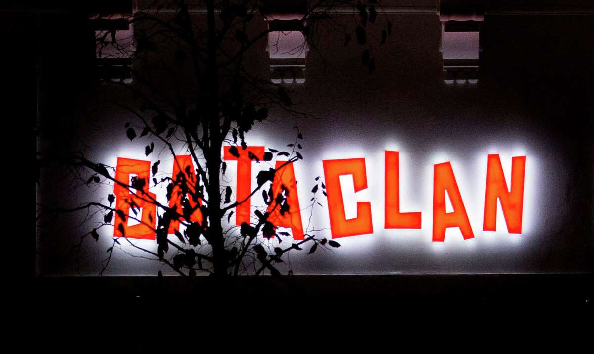 Big red letters read Bataclan on the main entrance of the Bataclan concert hall in Paris, Saturday, Nov. 12, 2016. A concert by British pop legend Sting is marking the reopening of the Paris' Bataclan concert hall one year after suicidal jihadis turned it into a bloodbath and killed 90 revelers. The coordinated attacks in Paris on Nov. 13 last year that also targeted bars, restaurants and the sports stadium, leaving 130 people dead. (AP Photo/Kamil Zihnioglu)