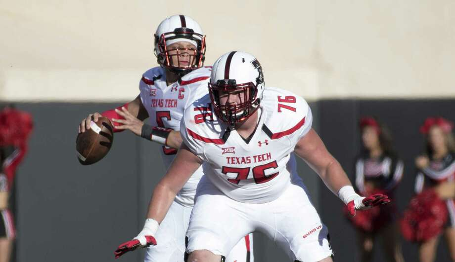 STILLWATER, OK - NOVEMBER 12: Quarterback Patrick Mahomes II #5 of the Texas Tech Red Raiders looks to pass as offensive lineman Paul Stawarz #76 of the Texas Tech Red Raiders blocks against Oklahoma State during the first half of a NCAA football game November 12, 2016 at Pickens Stadium in Stillwater, Oklahoma. (Photo by J Pat Carter/Getty Images) Photo: J Pat Carter, Stringer / 2016 Getty Images