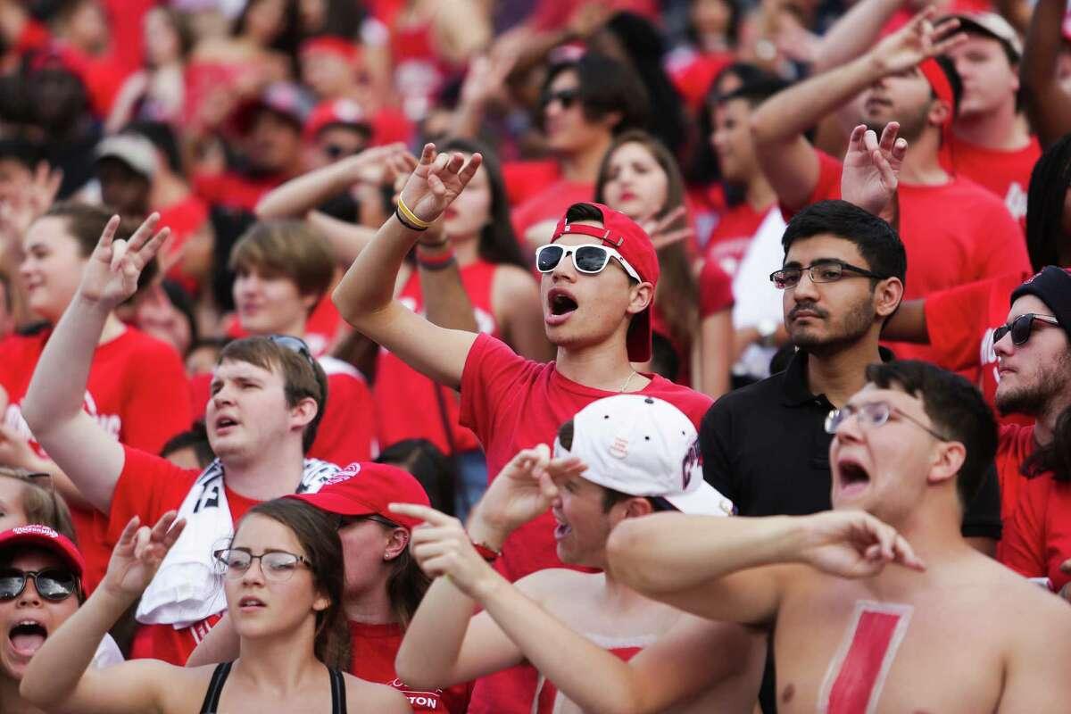 Houston Cougars fans cheer as the Houston Cougars take on the Tulane Green Wave at TDECU Stadium Saturday, Nov. 12, 2016 in Houston.