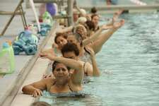 It is never too late to become active. Jovita Aranda, 61, participates in an aquatics exercise class at the San Antonio Natatorium in 2016.