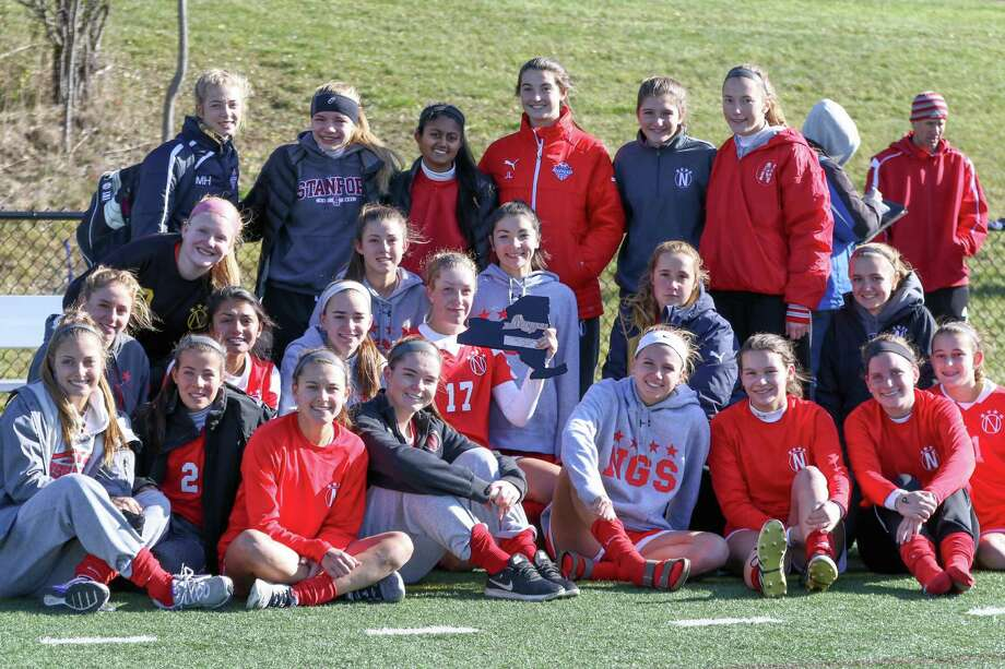 The Niskayuna girls' soccer team poses with its consolation plaque after falling to Massapequa 3-1 in the state semifinals at Tompkins-Cortland Community College on Saturday, Nov. 12, 2016. (Robert Dungan / Special to the Times Union) Photo: Robert Dungan / All rights reserved by GND Studios