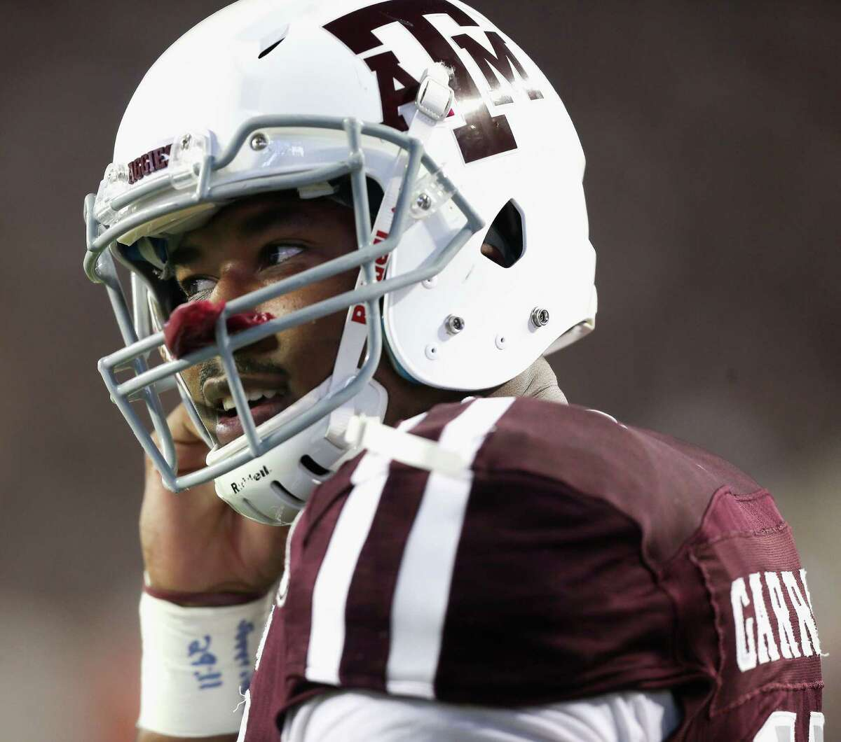 COLLEGE STATION, TX - NOVEMBER 12: Myles Garrett #15 of the Texas A&M Aggies warms up before playing the Mississippi Rebels at Kyle Field on November 12, 2016 in College Station, Texas.