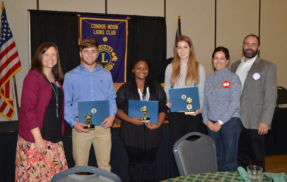 In recognition of Diabetes Awareness Month, the Conroe Noon Lions Club held its annual Diabetic Essay Contest and awarded $4,000 to Conroe High seniors.  Pictured (left to right) are Chair Kristyn Reed, Mason Rey, Sierra Gordon, Eireanne Milbaum, Committee members Yvette Smith and Rusty Smith. Photo: Submitted