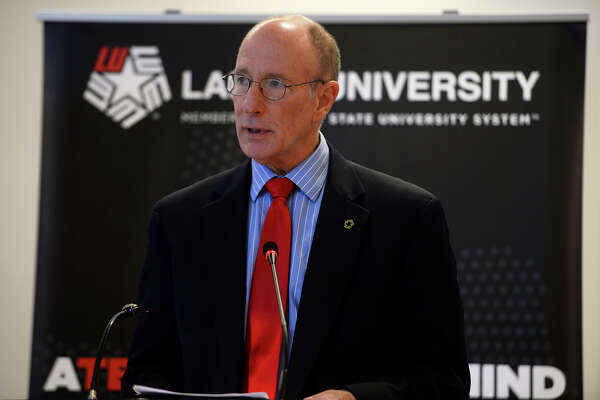 Lamar University president Kenneth Evans speaks at a ceremony unveiling a nearly $2 million gift to the university on Friday. The university will establish a science education fellowship named for donors Becky and Chuck Mason.  Photo taken Friday 11/11/16 Ryan Pelham/The Enterprise