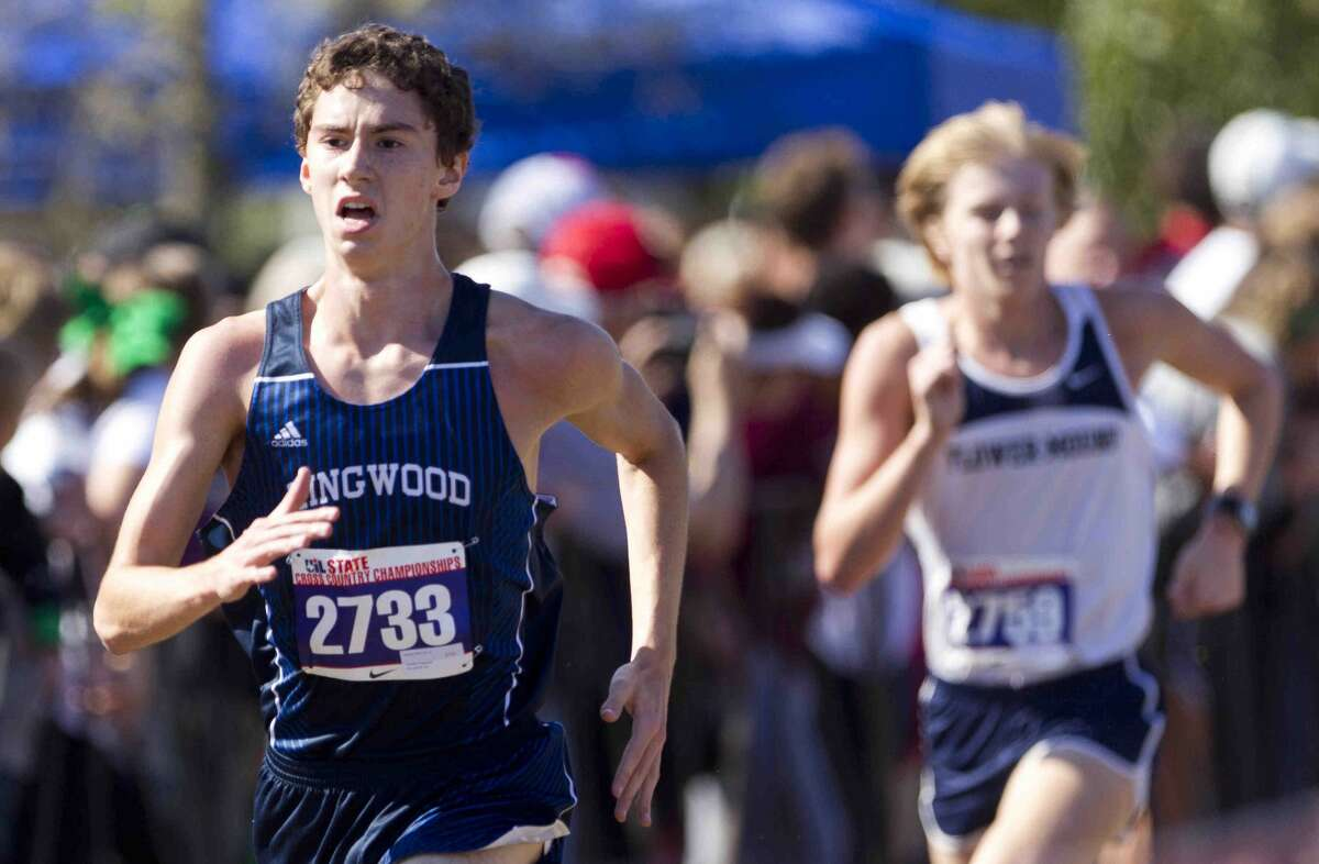 Jeremy Rich, of Kingwood, competes in the Class 6A boys race during the UIL state cross country championships at Old Settlers Park Saturday, Nov. 12, 2016, in Round Rock.