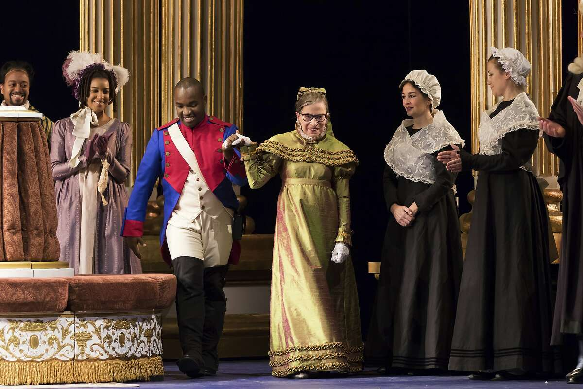 """This Thursday, Nov. 10, 2016 photo released by the Washington National Opera shows U.S. Supreme Court Justice Ruth Bader Ginsburg, center, as the Duchess of Krakenthorp in a dress rehearsal of Donizetti's """"The Daughter of the Regiment"""" at the Washington National Opera in Washington. The performance marks Ginsburg's debut in an operatic speaking role. (Scott Suchman/WNO via AP)"""