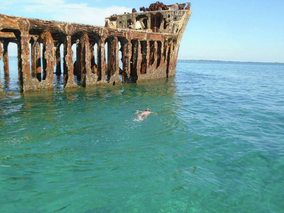 Resorts World Bimini arranges boat rides to this wrecked ship where the snorkeling is terrific. Photo: Robin Soslow / For The Express-News / Copyright 2009