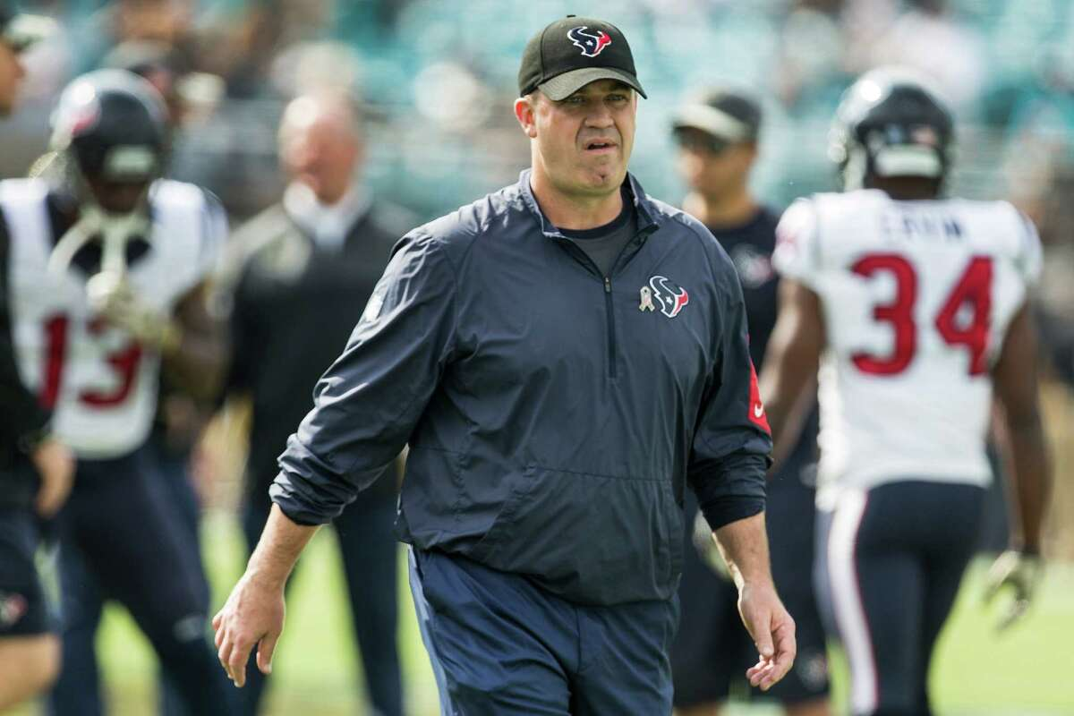Houston Texans head coach Bill O'Brien walks across the field before an NFL football game between the Texans and the Jacksonville Jaguars at Everbank Field on Sunday, Nov. 13, 2016, in Jacksonville.