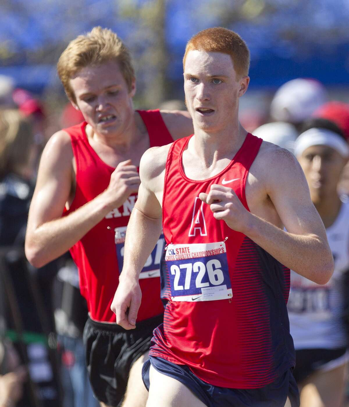 Tat McMilan, of Atascocita, competes in the Class 6A boys race during the UIL state cross country championships at Old Settlers Park Saturday, Nov. 12, 2016, in Round Rock.