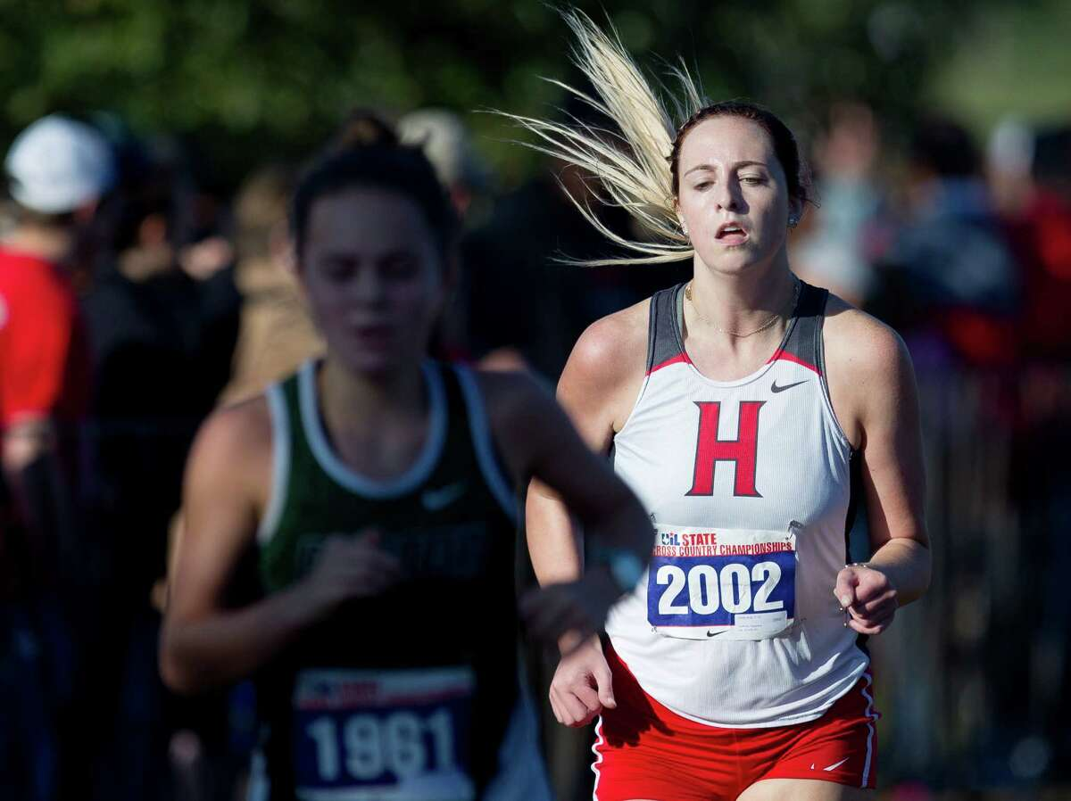 Carley Bray, of Huffman, competes in the UIL state cross country championships at Old Settlers Park Saturday, Nov. 12, 2016, in Round Rock.