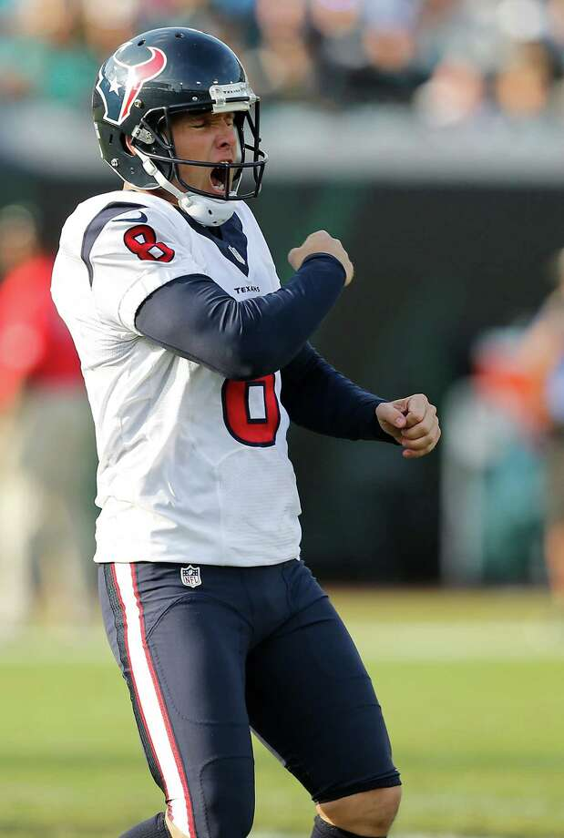 Houston Texans kicker Nick Novak (8) reacts after kicking a 51-yard field goal against the Jacksonville Jaguars during the fourth quarter of an NFL football game at Everbank Field on Sunday, Nov. 13, 2016, in Jacksonville. Photo: Brett Coomer, Houston Chronicle / © 2016 Houston Chronicle