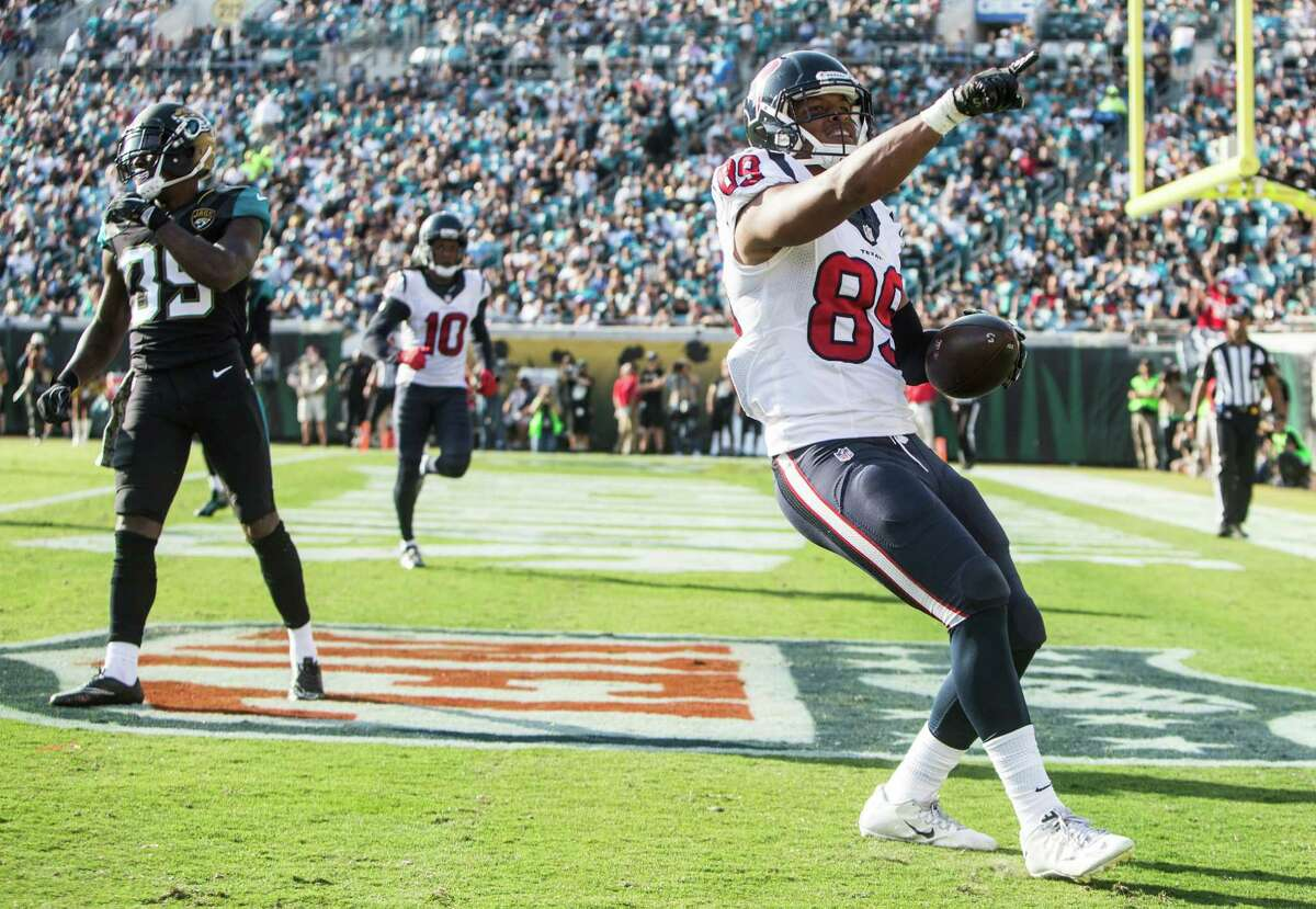 Houston Texans tight end Stephen Anderson (89) celebrates his 7-yard touchdown reception against the Jacksonville Jaguars during the third quarter of an NFL football game at Everbank Field on Sunday, Nov. 13, 2016, in Jacksonville.