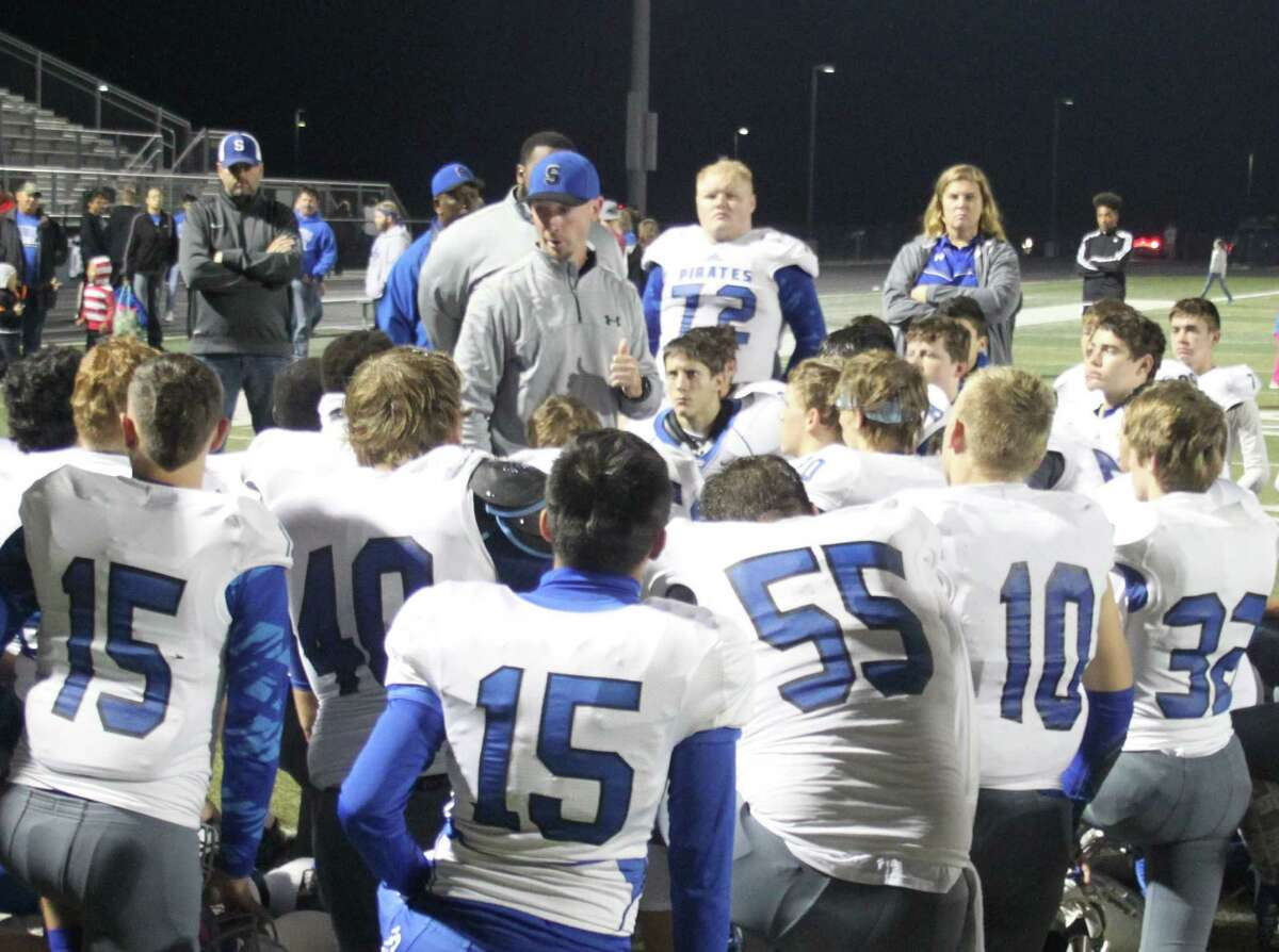 Coach Miles Robison congratulates the Shepherd Pirates for a good season after their loss against the Hardin-Jefferson Hawks. Robison describes the team as having proven their worth on the football field throughout the season.