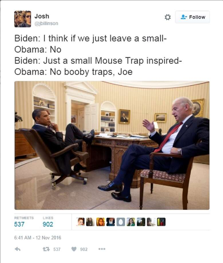 Biden: I think if we just leave a small-Obama: NoBiden: Just a small Mouse Trap inspired-Obama: No booby traps, Joe Photo: Twitter Screen Grab