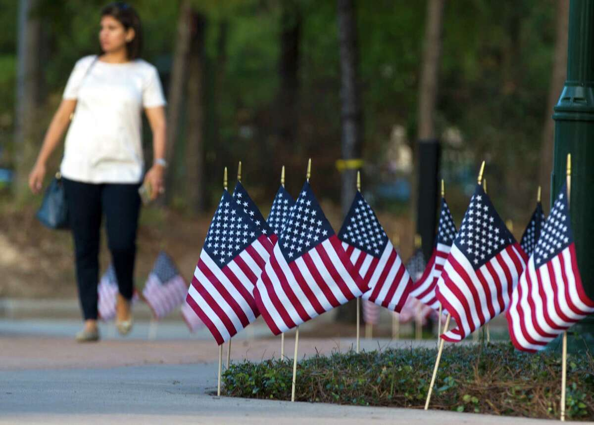 American flags line the entrance to Town Green Park during a Veterans Day celebration Friday, Nov. 11, 2016, in The Woodlands.