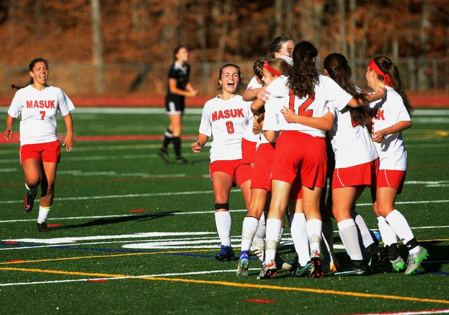 Masuk celebrates their opening goal during their victory over Joel Barlow in the quarterfinals of the Class L state girls soccer tournament at Masuk High School in Monroe, Conn. on Sunday, November 13, 2016. Photo: Brian A. Pounds / Hearst Connecticut Media / Connecticut Post